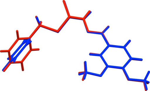 A view of the mol­ecular overlay (Mercury; Macrae et al., 2008 ▶) of the two independent mol­ecules (A blue and B red) of the title compound.