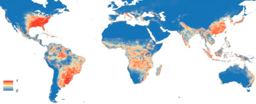 Global map of the predicted distribution of Ae. albopictus.The map depicts the probability of occurrence (from 0 blue to 1 red) at a spatial resolution of 5 km × 5 km.DOI:http://dx.doi.org/10.7554/eLife.08347.009