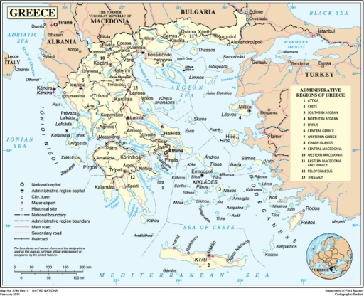 Map of Greece (Source: United Nations).