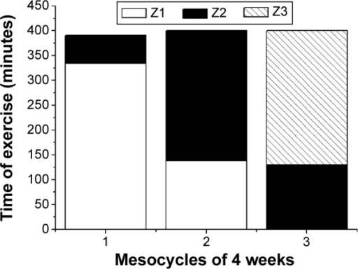 Time spent in each intensity zone during the 12 weeks of aerobic training.Notes: Z1: 60% of VO2peak for 50 minutes (continuous effort); Z2: 75% of VO2peak for 30 minutes (continuous effort); Z3: five efforts lasting 3 minutes separated by 1 minute of passive recovery (interval effort).Abbreviation: VO2peak, peak oxygen uptake.