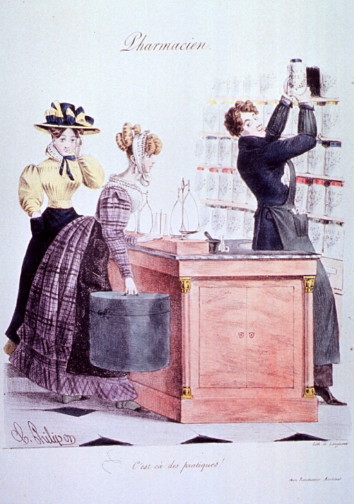 <p>Interior view of a pharmacy:  Two women stand at the counter, as a young pharmacist removes a jar from the shelves.</p>