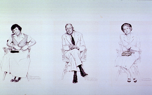 <p>Two women and a man are sitting in chairs (perhaps in the waiting room of a physician's office); their facial expressions and postures belie the tensions within.</p>