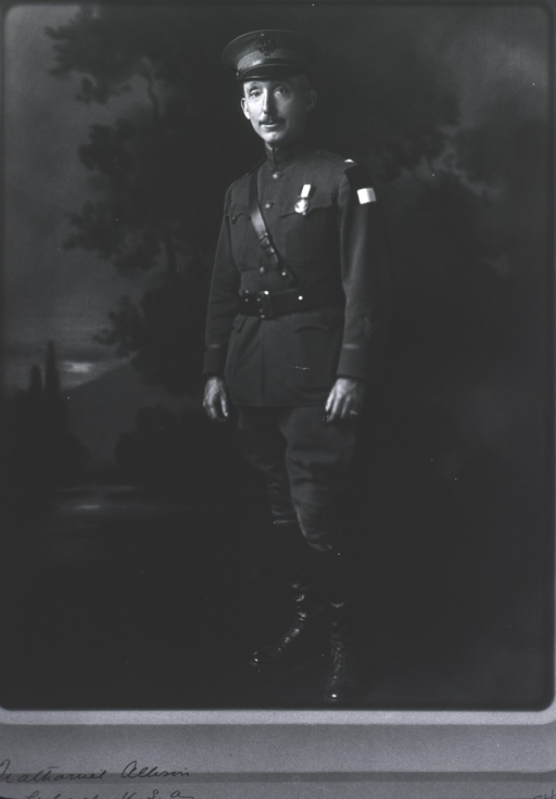 <p>Standing, full length; front in uniform; against background.</p>