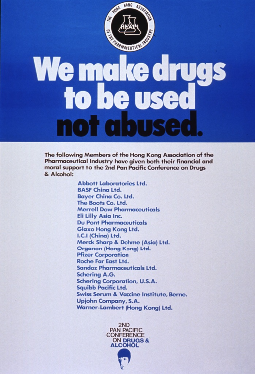 <p>Bright blue and white poster with multicolor lettering.  Logo for Hong Kong Association of the Pharmaceutical Industry (HKAPI) at top of poster.  Title immediately below logo.  Poster is dominated by list of HKAPI members that supported the 2nd Pan Pacific Conference on Drugs and Alcohol.</p>