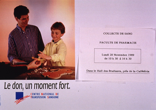 <p>Predominantly white poster with multicolor lettering.  Right side of poster features a notice announcing a blood drive at a School of Pharmacy, Nov. 1989.  Visual image is a color photo reproduction showing a man and a boy observing the construction of a violin; the violin-maker's arm is visible in the foreground, holding a part of the violin for the boy to touch.  Title and publisher information below photo.</p>