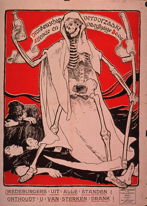 <p>Predominantly red and discolored white poster with red and black lettering.  Title near top of poster, incorporated in visual image.  Title addresses drunkeness or alcoholism bringing about an untimely death.  The image is an illustration of a skeletal death figure holding a bottle in one hand and a scythe in the other.  Title on a banner tied to the scythe.  Death is trampling on three people.  Caption below illustration urges citizens to stand together and avoid strong drink.  Note text in lower left corner deals with the people's will creating law.</p>