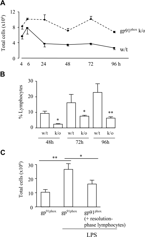 Absence of repopulating lymphocytes during nonresolving inflammation. (A) Zymosan was injected into the peritoneal cavity of pg91phox knockout mice, which, when compared with controls, showed a more aggressive inflammatory response that failed to resolve. (B) FACS analysis of cell types present during resolution revealed a progressive repopulation of lymphocytes during resolution that was lower in pg91phox knockout mice. (C) Lymphocytes obtained from the resolution phase (72 hours) of normal strain-matched wild-type controls and comprising B1 cells, NK cells, and γ/δ T cells, as well as CD4+/CD25+ cells, were transferred back into the peritoneal cavity of gp91phox knockout mice (72 hours) and subsequently challenged, intraperitoneally, with LPS. Inflammation was reduced in gp91phox knockout mice that received resolution-phase lymphocytes compared with gp91phox mice alone. *P ≤ .05; **P ≤ .01 as determined by ANOVA, followed by Bonferroni t test, with data expressed as means plus or minus SEM.