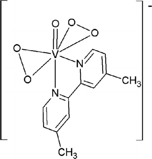 Chemical structure of 4,4′-Me2-2,2′-bpy = 4,4′-dimethyl-2,2′-bipyridine (Na[VO(O2)2(4,4′-Me2-2,2′-bpy)]•8H2O) used in present investigation