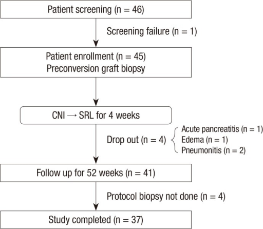 Study population. Forty-six patients were screened, and 45 preconversion biopsies were performed. After the 52-week study period, 37 post-conversion biopsies were completed.