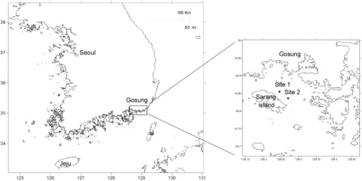 Maps showing the sampling locations in the South Sea of Korea.