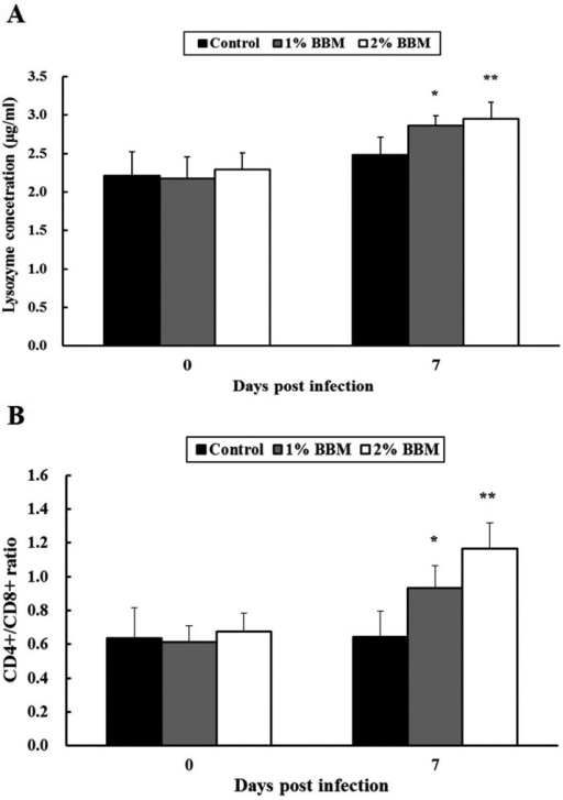 The effects of the BBM on the lysozyme activity and CD4+/CD8+ Tlymphocyte ratio in pigs challenged with S. Typhimurium infection.Serum samples and PBMCs were isolated from each blood sample. (A) The serum lysozymeconcentration and (B) CD4+/CD8+ T lymphocyte ratio aresignificantly higher in the 1% and 2% BBM groups than in the control group. The dataare presented as the mean ± SD of 5 pigs per group. *P<0.05vs. control group. **P<0.01 vscontrol group.