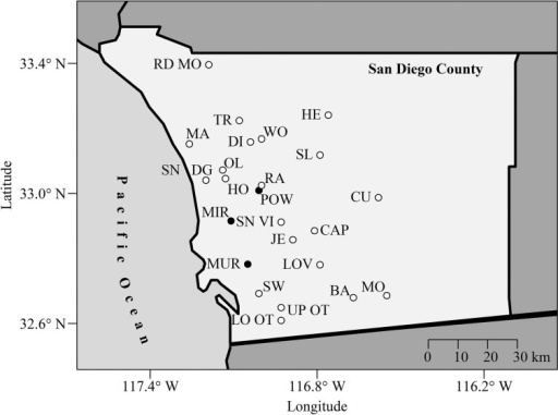 Twenty-four major reservoirs in San Diego County, California, USA http://www.sdcwa.org/san-diego-county-water-sources (http://www.sdcwa.org/reservoirs).Barret (BA); Cuyamaca (CU); Dixon (DI); El Capitan (CAP); Henshaw (HE); Hodges (HO); Jennings (JE); Loveland (LOV); Lower Otay (LO); Maerkle (MA); Miramar (MIR); Morena (MO); Murray (MUR); Olivenhain (OL); Poway (POW); Ramona (RA); Red Mountain (RD MO); San Dieguito (SN DG); San Vicente (SN VI); Sutherland (SL); Sweetwater (SW); Turner (TR); Upper Otay (UP OT); Wohlford (WF). The black points indicate the three reservoirs we sampled.