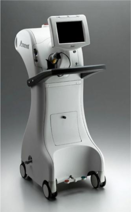 The Xoft® Axxent® electronic brachytherapy system (iCAD, Inc.) external trolley.Note: Reproduced from XoftInc.com [homepage on the Internet]. Axxess with Axxent: Innovative Technology for the Practice of Radiation Oncology. California: Xoft, inc.; 2008. Available from: http://www.xoftinc.com/treatingebx.html.15