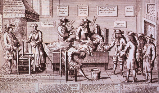 <p>Interior view: A man is shown asleep on a bed with several men gathered around to examine him; a woman, standing by the fireplace, is speaking with another man.</p>