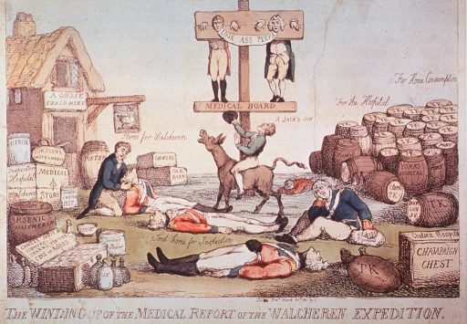 <p>Caricature:  Two members of the Medical Board stand in a double pillory raised on a post, beneath them a man rides a donkey; four uniformed bodies lie on the ground; to the extremes are many barrels and packages, one of which is labeled opium.</p>