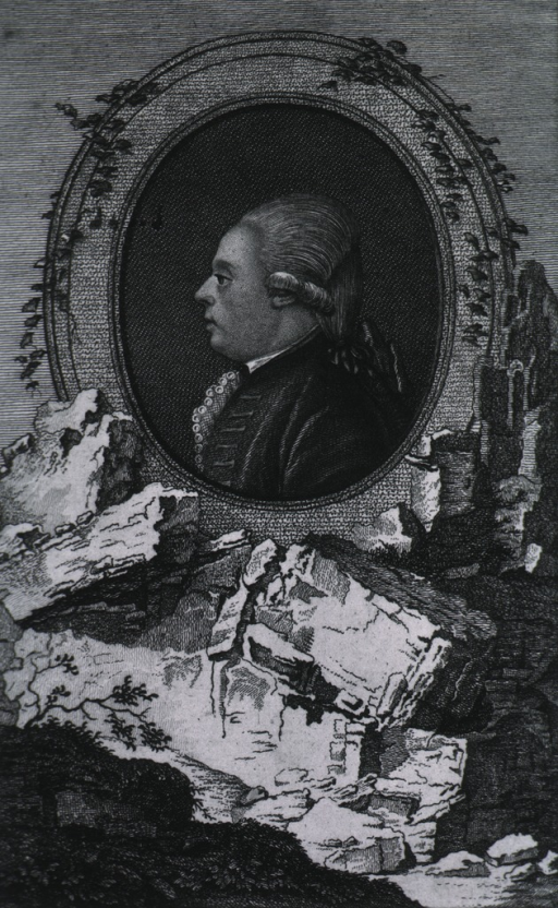 <p>Head and shoulders, left profile, in oval, landscape in foreground.</p>