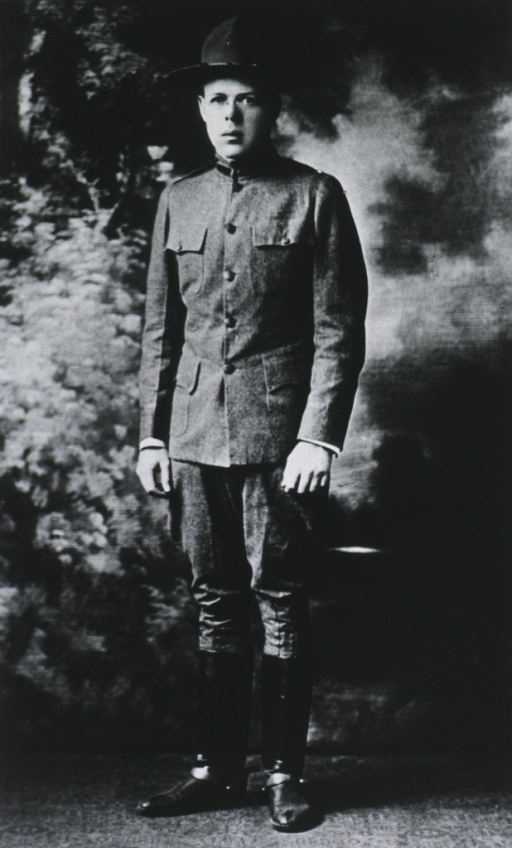 <p>Full length, standing, full face; wearing uniform and hat.</p>