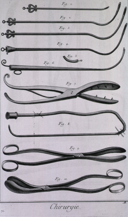 <p>Instruments are various hollow tubes (algalies) and lithotomy forceps.</p>