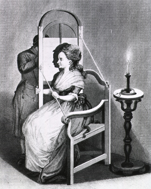 <p>A woman sits in a chair, the right side of which is constructed in such a way as to support a piece of paper or canvas board in an upright position; in the foreground is a lighted candle which projects a silhouette of the woman on the paper.</p>