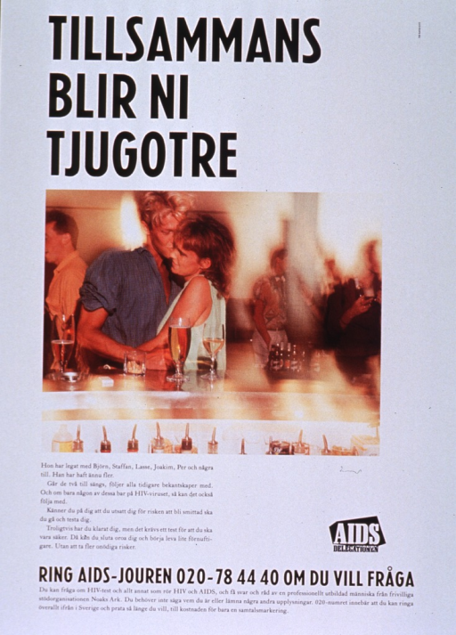 <p>Predominantly white poster with black and white lettering.  Title at top of poster.  Visual image is a color photo reproduction featuring a male-male couple embracing at a bar.  Caption below photo discusses having multiple sexual partners and the importance of HIV tests.  Publisher logo near caption.  Hotline for HIV testing and information at bottom of poster.</p>
