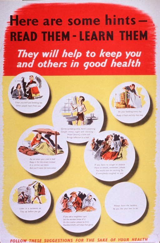 <p>Predominantly yellow and red poster with multicolor lettering.  Title at top of poster.  Visual images are seven illustrations depicting people airing bedding, gargling, not wearing a coat to bed, covering the mouth when coughing, picking up litter, and admonishing others for spitting.  Note and printer/publisher information at bottom of poster.</p>