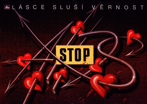 <p>Predominantly purple-tone poster with white and black lettering.  Title at top of poster appears to address the concepts of love and fidelity.  A small logo for &quot;AIDS stop&quot; in upper left corner.  Visual image is an illustration of a tangle of spears or fishhooks, each of which has pierced at least one symbolic heart.  The note text appears as a sign amid the bundle.</p>