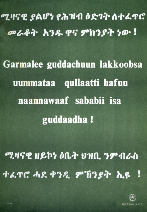 <p>Green poster with white lettering.  Poster is all text.  Two lines of Ethiopic script at both top and bottom of poster.  Latin alphabet text given as title in center of poster.  Logo in lower right corner mentions World Population Day.</p>