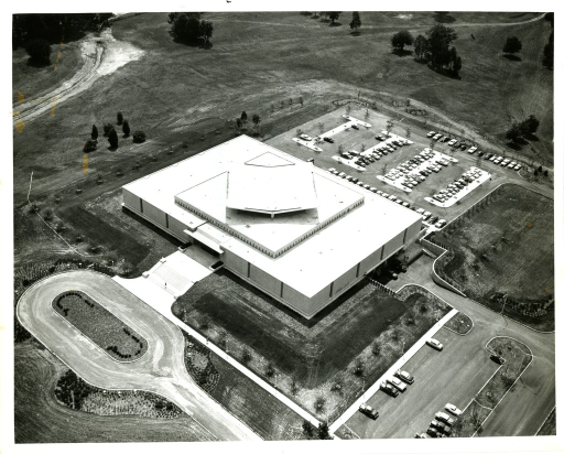 <p>Aerial view of the newly constructed National Library of Medicine viewed from the northeast side.</p>