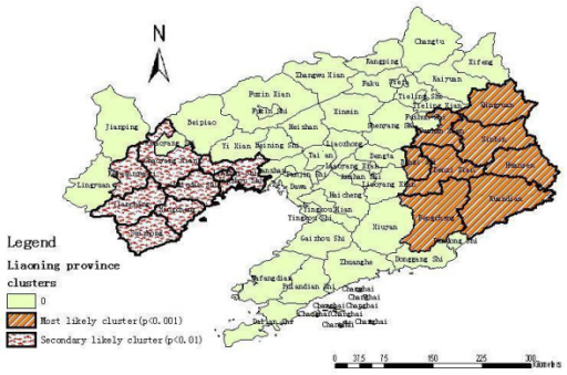 Spatial distribution of clusters of HFRS with significant higher incidence using the maximum cluster size < 50% of the total population in Liaoning Province, China, 2000–2005.
