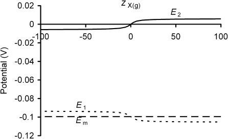 Charge-difference modeling of the influence of glycocalyceal charge upon steady-state transmembrane potentials. CD modeling was used to assess the influence of glycocalyceal fixed charge valency (zX(g)) upon transmembrane potentials. Negative fixed charges cause negative glycocalyceal potentials (E2) and relative depolarization of E1 such that Em is unchanged, whereas positive fixed charges produce positive surface potentials and hyperpolarization of E1, again leaving Em unchanged. Note that large magnitudes of E2 are prevented because osmotic swelling of the glycocalyx reduces fixed charge density as zX(g) increases. As shown in Fig. 4, higher magnitudes of η permit higher magnitudes of fixed charge density and hence increase the influence of zX(g) upon E2.
