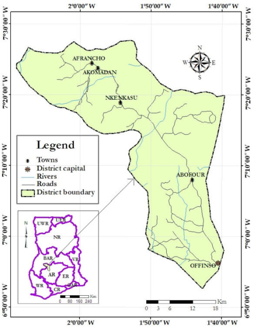 Map of Offinso District showing the study towns (Source: Prepared using ArcGIS software, 2008).
