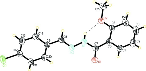 The molecular structure of the title compound with displacement ellipsoids drawn at 30% probability level. An intramolecular hydrogen bond is shown as a dashed line.