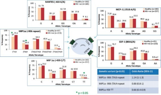 A comparison of frequencies of genetic polymorphisms in CCR5 chemokine ligands (RANTES, MIP1a), CCR2 ligand (MCP1) and CXCR4 ligand (SDF-1) among the healthy north Indian population and HIV-1 infected individuals. The three significant findings in MIP1α associations and their odds ratios respectively are shown inside an insert on right lower side panel of the figure (Source: unpublished data). *P<0.05; Healthy vs HIV-1 seropositive individuals.