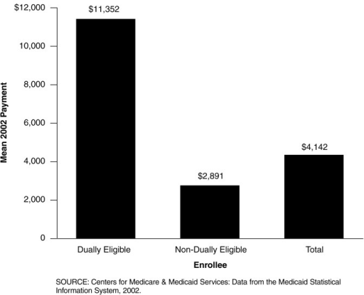 Mean Medicaid Payment Per Dually Eligible and Non-Dually Eligible Enrollees: Federal Fiscal Year 2002