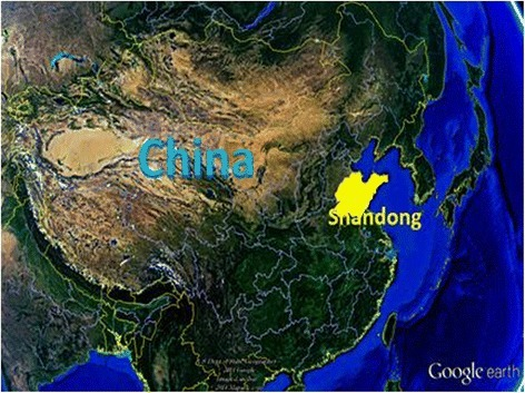 Location of Shandong province (highlighted) in China.