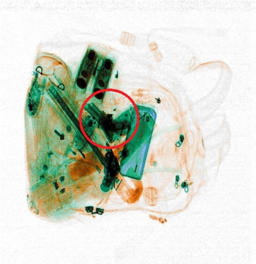 Example of the x-ray images used in the x-ray screening task. The red circle locates the threat for demonstrative purposes. It was shown in the feedback displays of the practice trials but did not appear in the experiment.