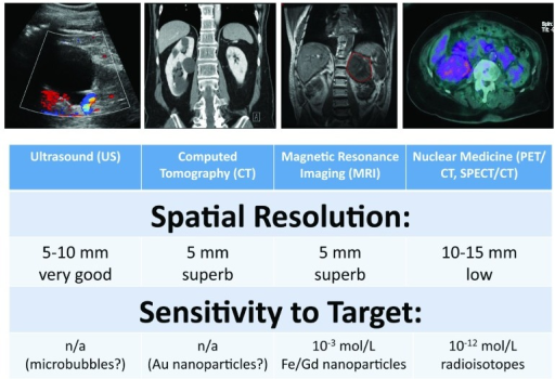 Comparison of different molecular imaging modalities.The anatomic spatial resolution and sensitivity for different molecular imaging methods are shown. CT and MRI based methods have excellent anatomic resolution, whereas PET/CT and SPECT/CT have very high sensitivity.