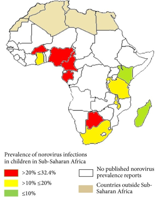 Countries where norovirus infections in children have been reported in Sub-Saharan Africa. Countries with high norovirus prevalence (>20% ≤32.4%) are represented by the red colour. Yellow: countries with norovirus prevalence between 10% and 20%. Light green: countries with less than 10% norovirus prevalence. At the time of writing this review, there were no published reports about prevalence rates of norovirus infections in children in other Sub-Saharan African countries apart from the ones represented by red, yellow, and light green colours.