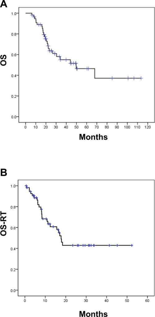 Survival rates of 56 patients receiving aggressive palliative thoracic RT.(A) Overall survival (OS) of all patients (B) Overall survival rate calculated from radiotherapy (OS-RT).