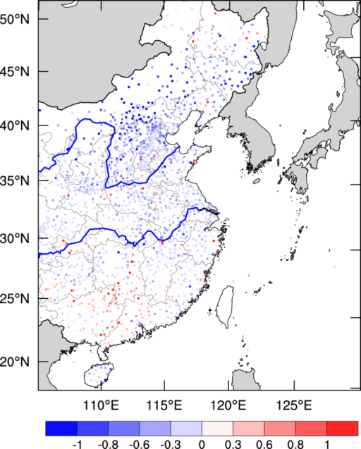Monthly mean anomalies between Dec. 2015 and Dec. 2014 of surface wind speed (m s−1) in eastern China.Rainy days were excluded. The wind speeds were measured by the National Climate Center of China at 2,540 monitoring sites. The map was generated by The NCAR Command Language (Version 6.3.0) [Software]. (2016). Boulder, Colorado: UCAR/NCAR/CISL/TDD. http://dx.doi.org/10.5065/D6WD3XH5.