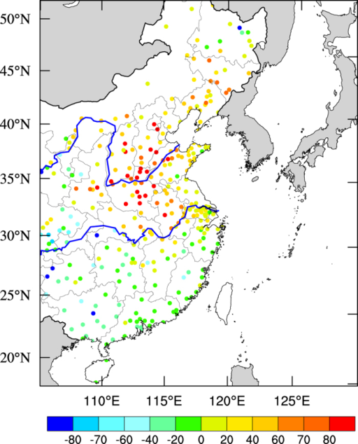Monthly mean anomalies of measured PM2.5 concentrations (μg m−3) between Dec. 2015 and Dec. 2014 in eastern China.The PM2.5 concentrations were measured by the Chinese National Environmental Monitoring Center (CNEMC) at 367 monitoring stations. The map was generated by The NCAR Command Language (Version 6.3.0) [Software]. (2016). Boulder, Colorado: UCAR/NCAR/CISL/TDD. http://dx.doi.org/10.5065/D6WD3XH5.