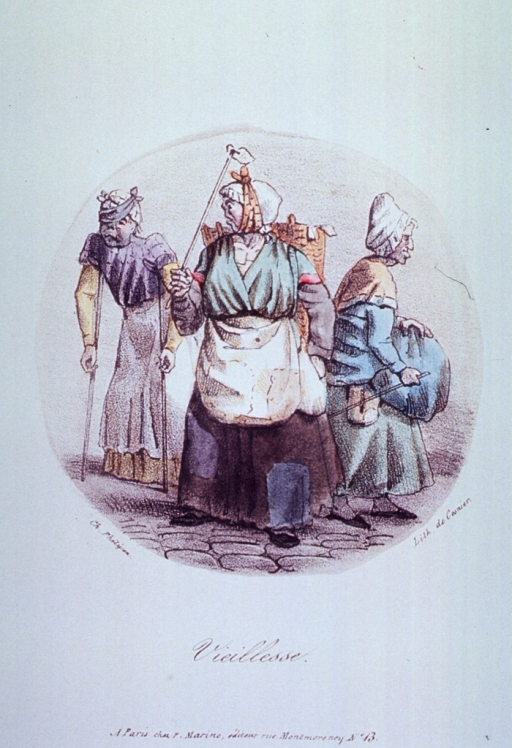 <p>Three old women:  One with a bandage over one eye and walking with the aid of crutchers; another has a bandaged jaw.</p>