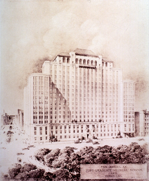 <p>Drawing of the proposed Pan-American Post-Graduate Medical School and Hospital of the Pan-American Medical Association.</p>