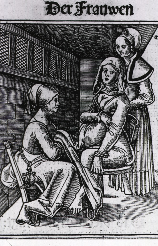 <p>A pregnant woman sitting on a birthing chair is assisted by two midwives, one holding the woman from behind and the other is in position to receive the baby.</p>