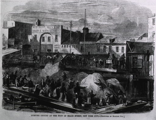 <p>Dumping ground at the foot of Beach Street, New York City - refuse going onto barge, with poor people picking through it.</p>