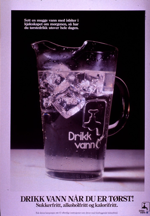 <p>Multicolor poster with black and white lettering.  Visual image is a color photo reproduction featuring a clear glass pitcher filled with water and ice cubes.  A faucet and the phrase &quot;Drikk vann&quot; are etched on the side of the pitcher.  Caption appears near top of photo and suggests putting a pitcher of water and ice cubes in the refrigerator in the morning to quench thirst throughout the day.  Title below photo.  Note below title indicates that the &quot;Drikk vann&quot; campaign is supported by 10 public institutions engaged in preventive health.  Program logo in lower right corner.</p>