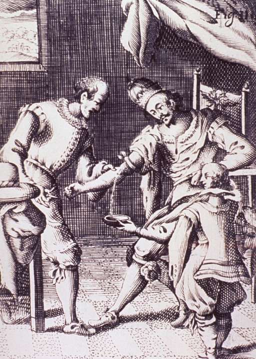 <p>A man, sitting in a chair, is being bled from his right arm.</p>