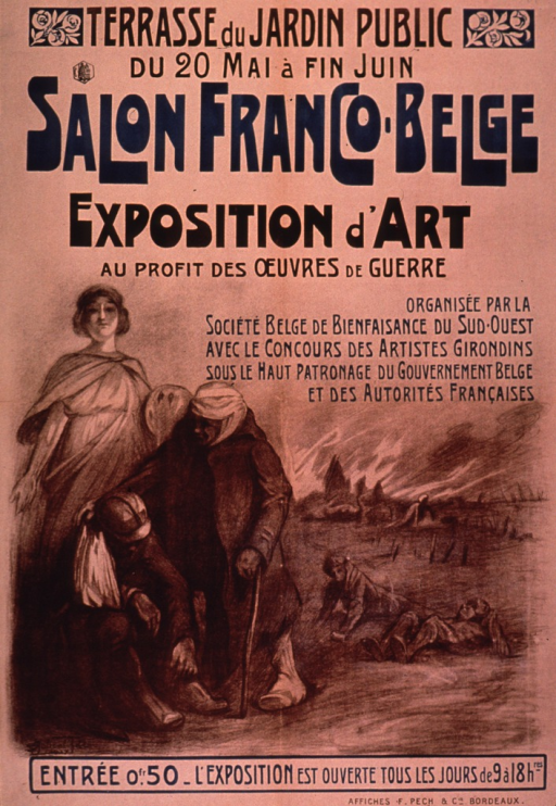 <p>Predominantly tan or discolored white poster with brown and blue lettering announcing an art exhibit held June 1917 as a war benefit.  Exhibit location at top of poster.  Title below.  Visual image is an illustration of a nurse standing behind two wounded soldiers; a battlefield scene is visible in the background.  Note lists exhibit organizers and sponsors.</p>