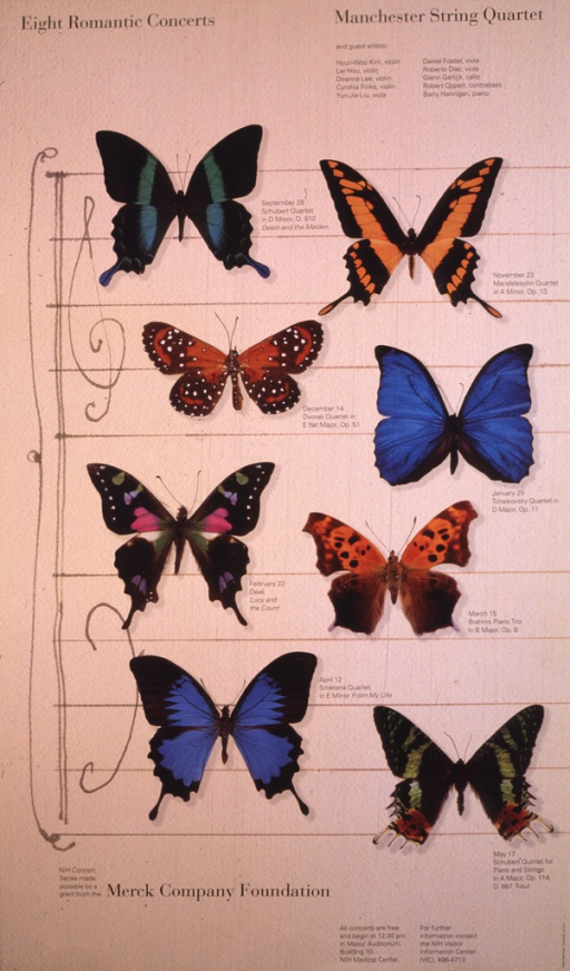 <p>The poster is beige with a black border on the left side.  The poster is designed to look like a sheet of music with the treble and bass clefs.  Eight colorful butterflies are superimposed on the sheet, four rows with two butterflies in each row.  Beside each butterfly is the date of a concert, the composer, and the selections to be played.  The top portion of the poster lists the artists and their instruments.  A phone number is also given for further information.</p>