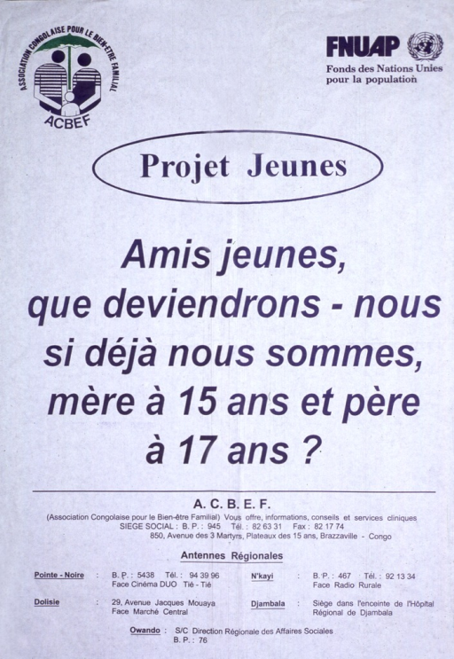 <p>Title underneath logos for A.C.B.E.F and FNUAP. All text is in French.  Remainder of title in center of poster. Below title is publisher information and addresses for regional offices.</p>